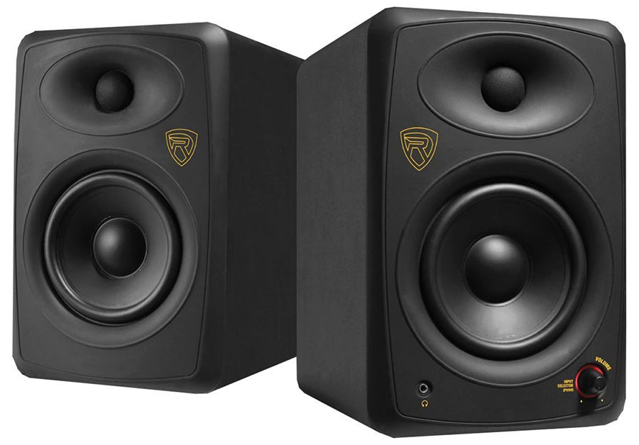 Studio monitor speakers are used by musicians and audiophiles