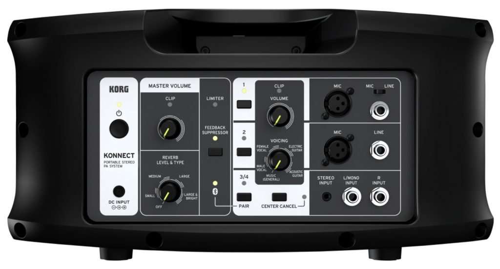 The back controls of the Korg Konnect PA system